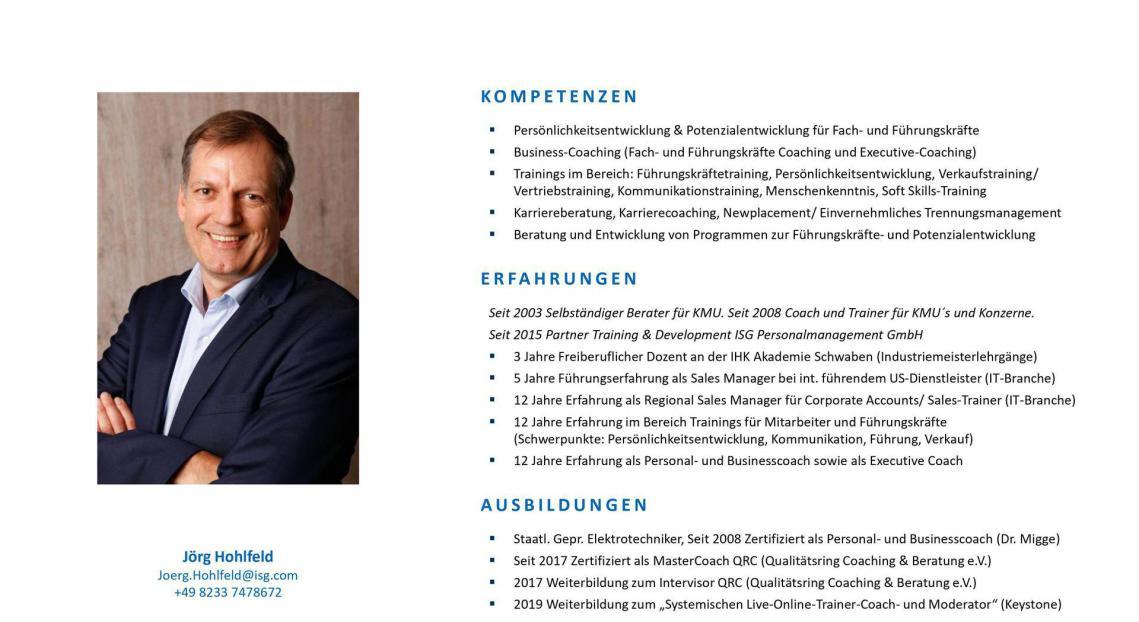 Jörg Hohlfeld Berater Coach Trainer Bayern Augsburg München Online Inhouse